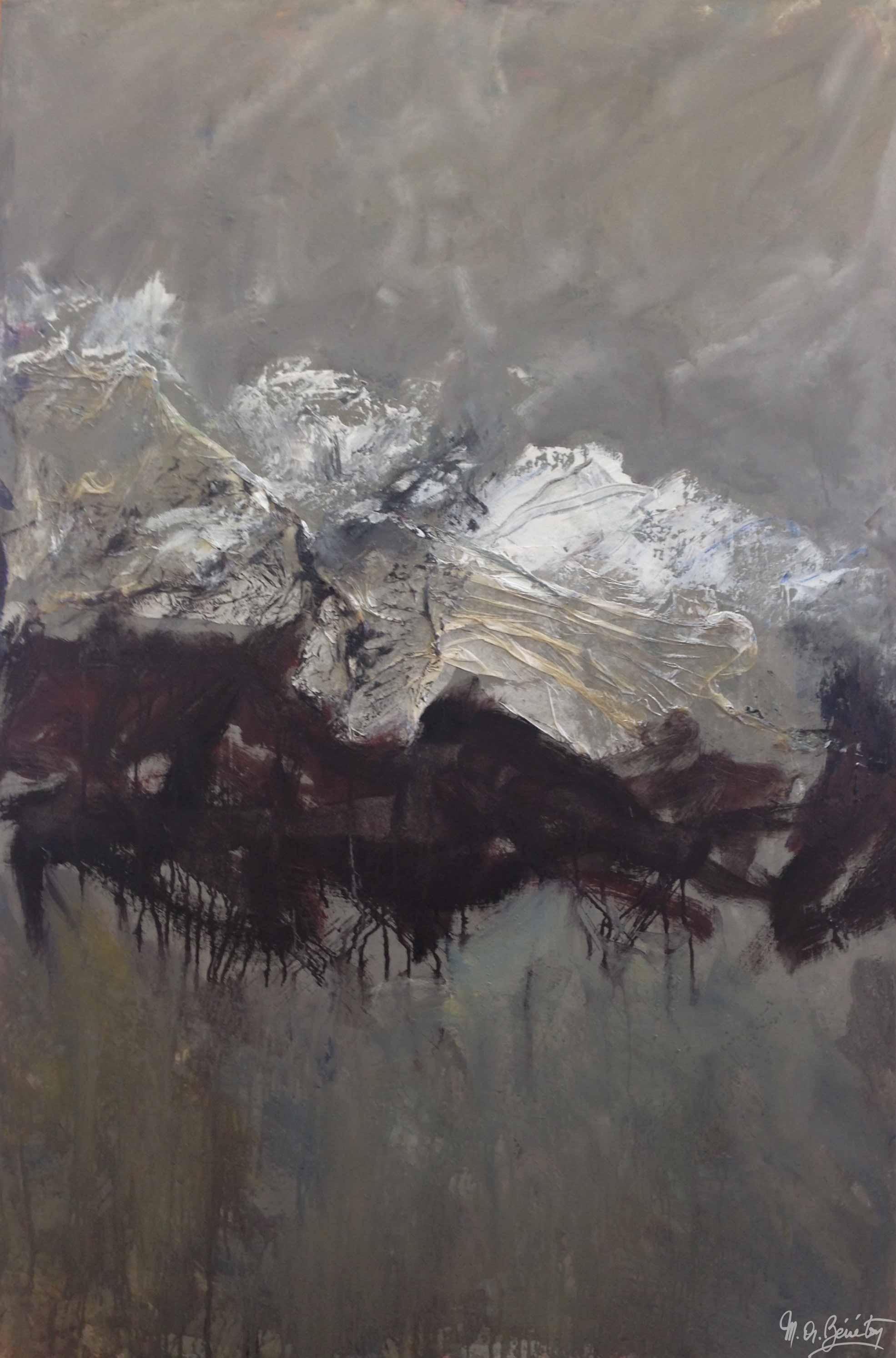 Abstrait #22 - Technique mixte sur toile - H150 cm * L100 cm