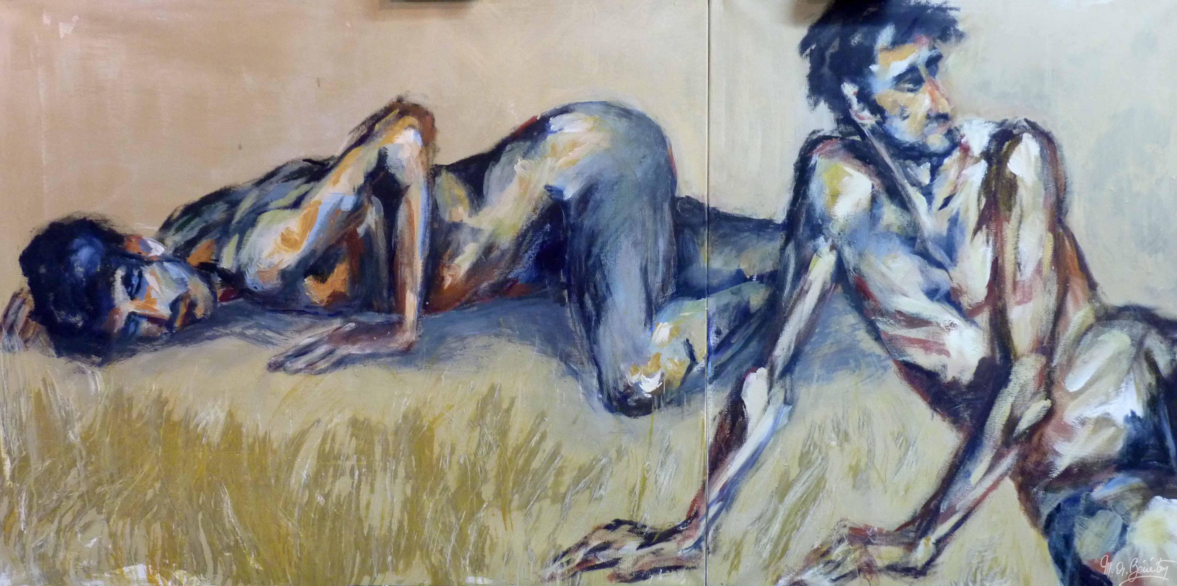 Homme nu - Dyptique #1 - Acrylique sur toile - H100 cm * L200 cm