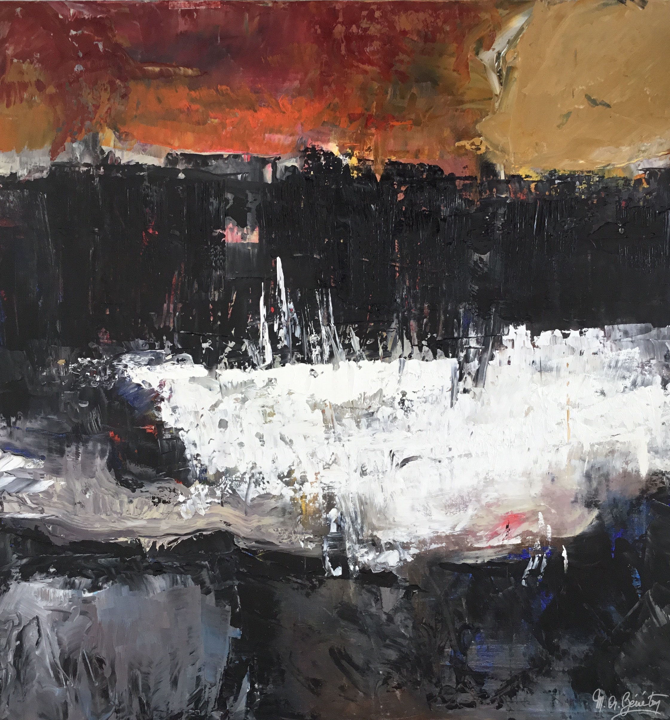 Abstrait #22 - Huile sur toile - H100 cm * L100 cm