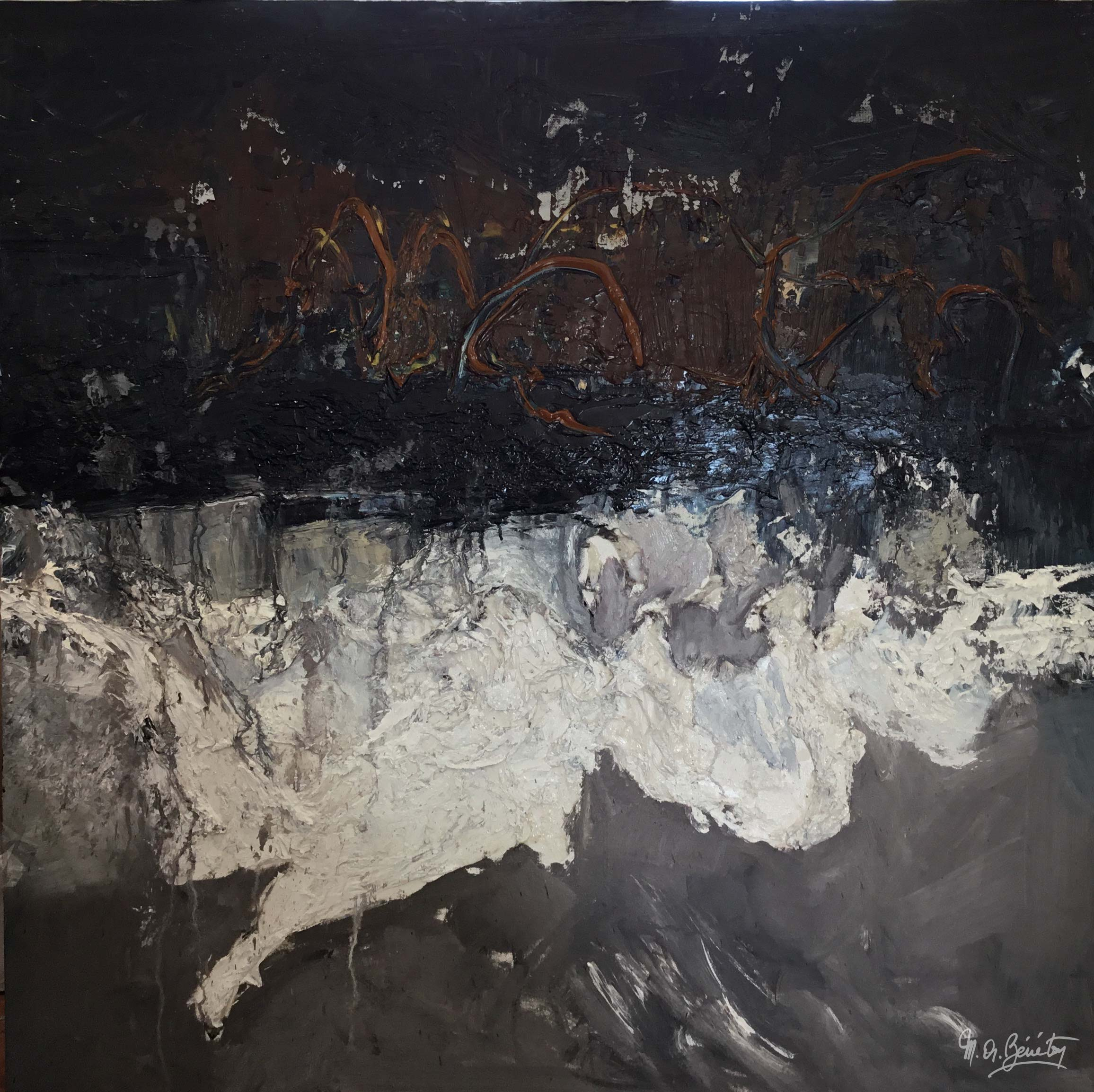 Abstrait #38 - Huile sur toile - H100 cm * L100 cm