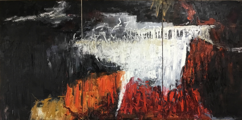 Abstrait #63- Triptyque – Huile sur toile – H150 cm * L300 cm