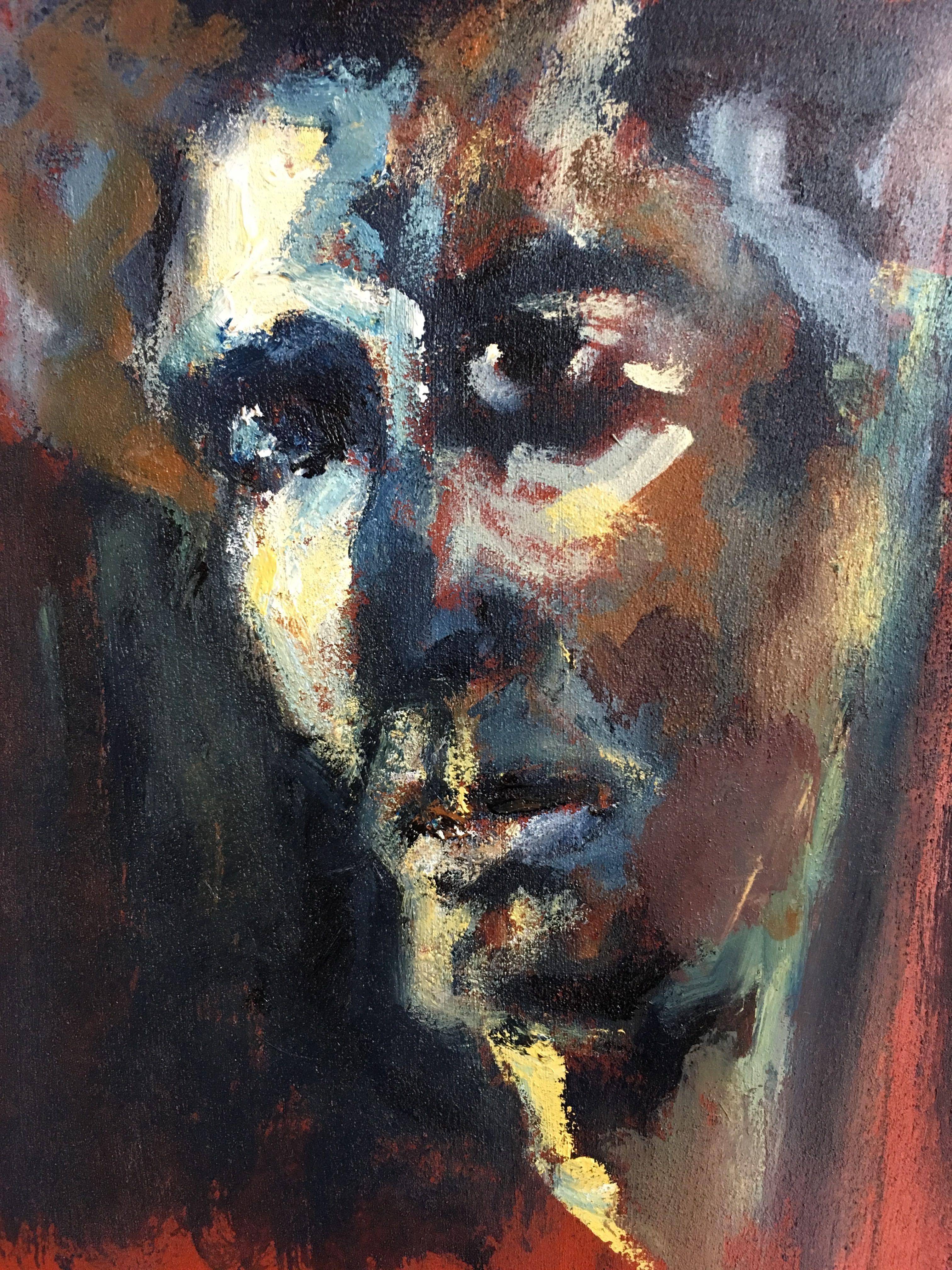 Portrait #19 - Acrylique sur papier – H30 cm * L20 cm